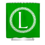 L Surrounded By Fret Wreath - White Shower Curtain