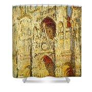 La Cathedrale De Rouen Le Portail Et La Tour Saint-ro Claude Oscar Monet Shower Curtain