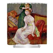 La Coiffure Shower Curtain by Renoir