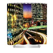 La Defense By Night - Paris Shower Curtain