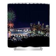 La Dodger Fireworks Shower Curtain