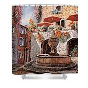 la fontana a St Paul de Vence Shower Curtain by Guido Borelli