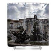 La Fontana Di Diana - Fountain Of Diana Silver Jets And Sky Drama Shower Curtain