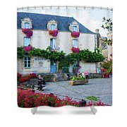La Gacilly, Morbihan, Brittany, France, Town Hall Painting Shower Curtain