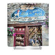 La Gacilly, Morbihan, Brittany, France, Wooden Toy Store Shower Curtain