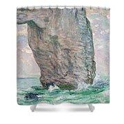 La Manneporte A Etretat Shower Curtain by Claude Monet