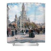 La Place De Trinite Shower Curtain by Jean Francois Raffaelli