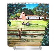 La Purisima With Fence Shower Curtain