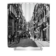 La Rambia Bw Streets  Shower Curtain