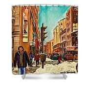 La Senza St Catherine Street Downtown Montreal Shower Curtain