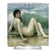 La Vague Shower Curtain by William Adolphe Bouguereau