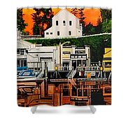 Laconner Waterfront Art Panel Shower Curtain