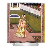 Lady Alone At Holi Festival Shower Curtain