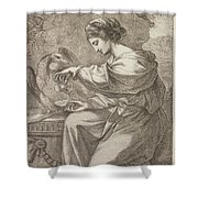 Lady And Eagle Shower Curtain
