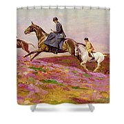 Lady Currie With Her Sons Bill And Hamish Hunting On Exmoor  Shower Curtain