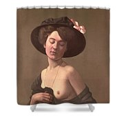 Lady In A Hat Shower Curtain by Felix Edouard Vallotton