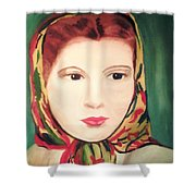 Lady In A Scarf Shower Curtain