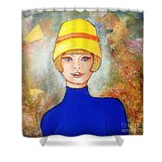 Lady In A Yellow Hat Shower Curtain