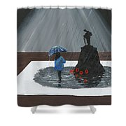 Lady In Blue 3d Shower Curtain
