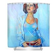 Lady In Blue II Shower Curtain