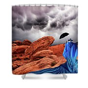 Lady In Blue Nevada Shower Curtain