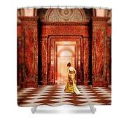 Lady In Golden Gown Walking Through Doorway Shower Curtain