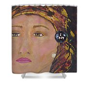 Lady In Head Scarf  Shower Curtain