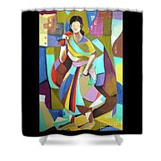Lady In Mosaic Shower Curtain