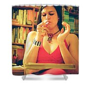 Lady In Read Shower Curtain