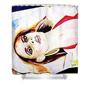 Lady In Red Framed Watercolour Painting Shower Curtain