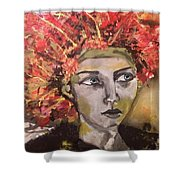 Lady In Red Headdress Shower Curtain