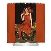 Lady In Red - Mrs Owen Barton Jones Shower Curtain