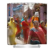 Lady In Summer Yellow Shower Curtain