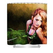 Lady In The Ferns Shower Curtain
