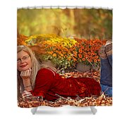 Lady In The Leaves Shower Curtain