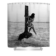 Lady In The Surf Shower Curtain