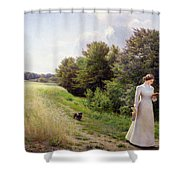 Lady In White Reading  Shower Curtain