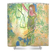 Lady Justice And The Man Shower Curtain