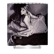 Lady Justice  Black And White Shower Curtain