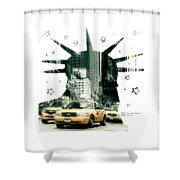 Lady Liberty And The Yellow Cabs Shower Curtain
