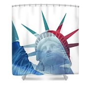Lady Liberty With French Flag Shower Curtain