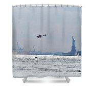 Lady Liberty's Typical Day Shower Curtain