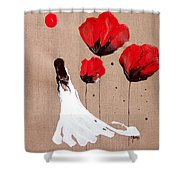 Lady Of The Poppies -contemporary Abstract Woman Red Flowers Fantasy Shower Curtain by Catherine Jeltes