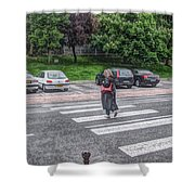 Lady On A Crossing Shower Curtain