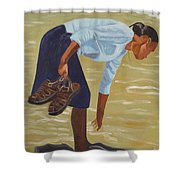 Lady On The Seashore Shower Curtain