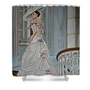 Lady On The Staircase Shower Curtain