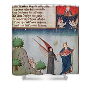 Lady Philosophy Leads Boethius In Flight Into The Sky On The Wings That She Has Given Him Shower Curtain