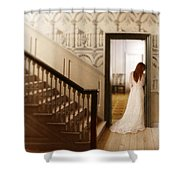 Lady Standing In A Doorway Shower Curtain