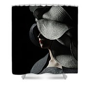 Lady With A Big Hat Shower Curtain