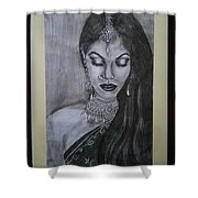 Lady With Bridal Jewelry Shower Curtain